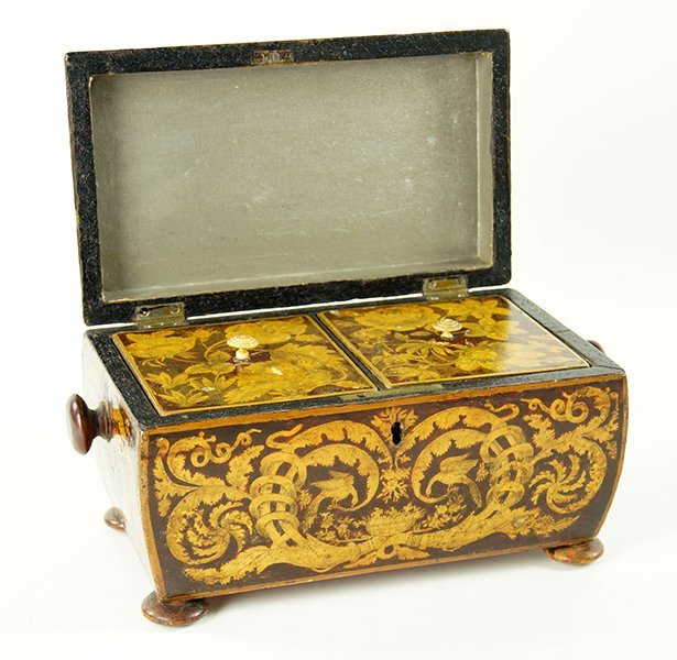 An English Regency Penwork Tea Caddy. - 2