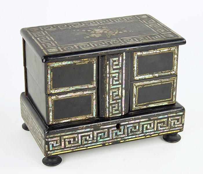 An English Papier Mache Jewelry Box.