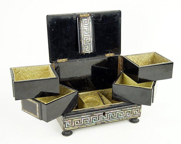 An English Papier Mache Jewelry Box. - 2