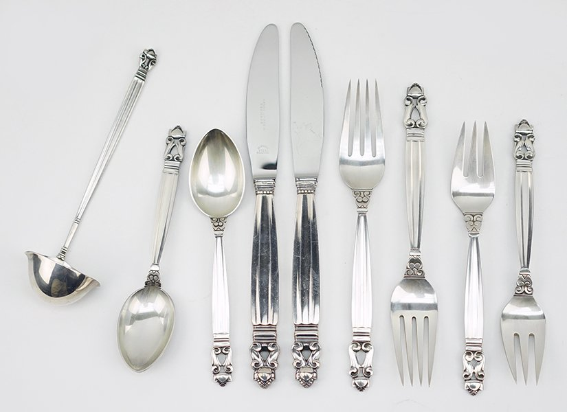 A Georg Jensen Sterling Silver Partial Flatware