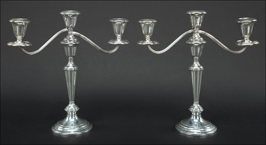 A Pair of Gorham Weighted Sterling Silver Three-Light