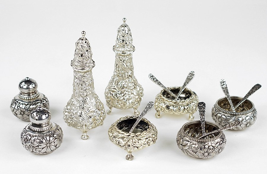A Collection of Sterling Silver Repousse Table