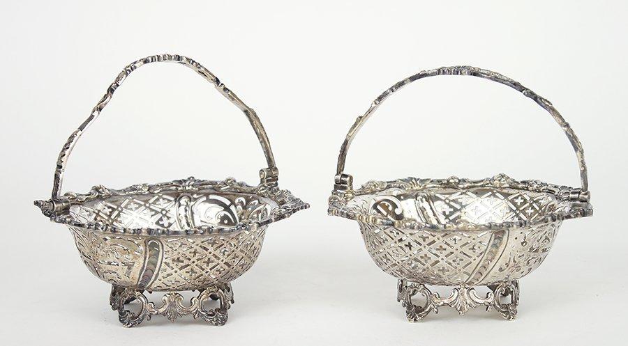 A Pair of English Edwardian Filigree Silver Baskets.