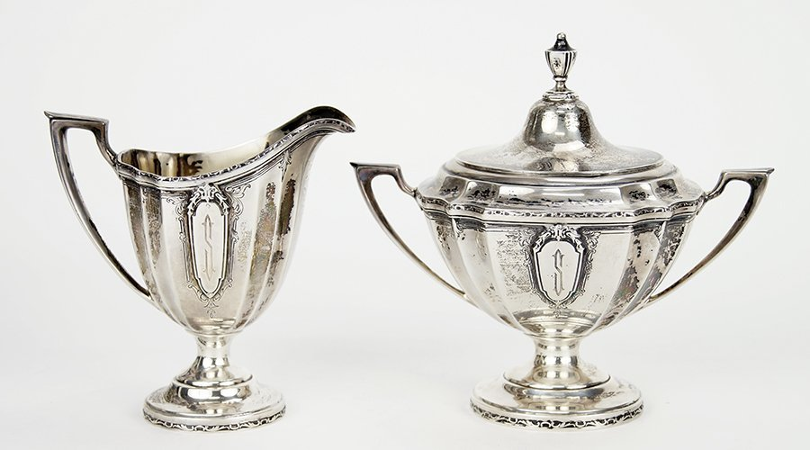 A Wallace Sterling Silver Creamer and Covered Sugar