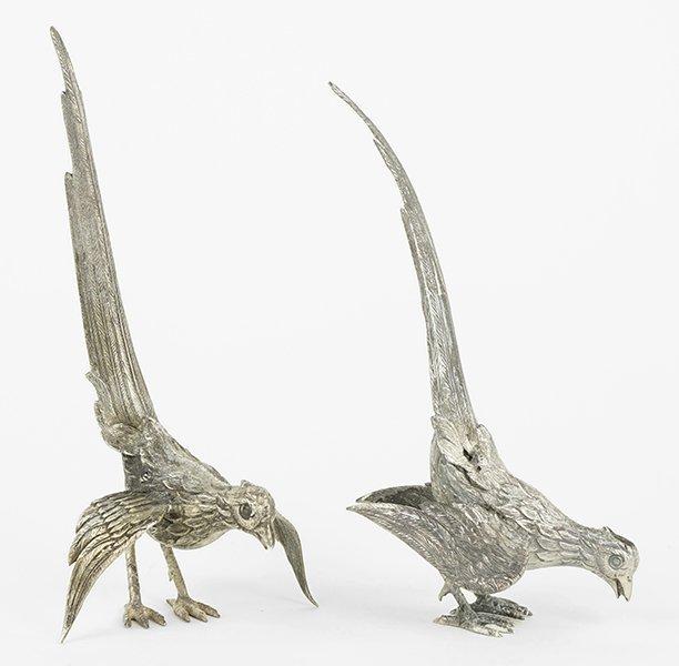 Two German .800 Silver Pheasants.
