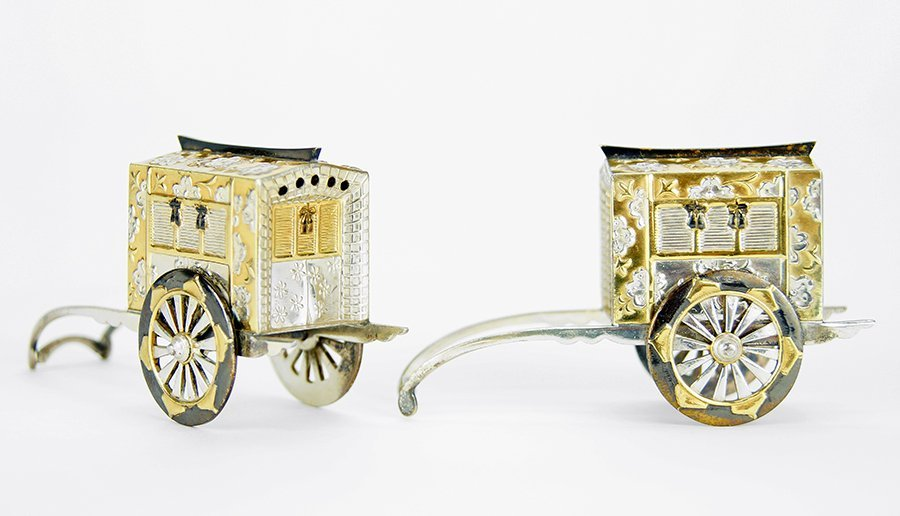 A Pair of Japanese .950 Silver Salt and Pepper Shakers.
