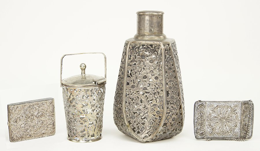 A Filigree Sterling Silver Jar.