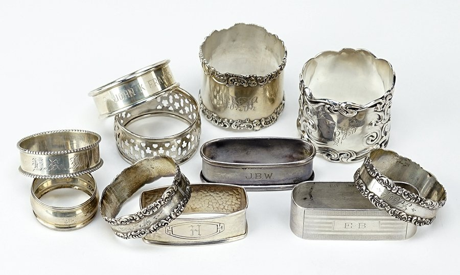 A Pair of Sterling Silver Napkin Rings.
