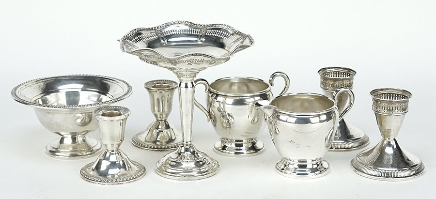 A Collection of Weighted Sterling Silver Table