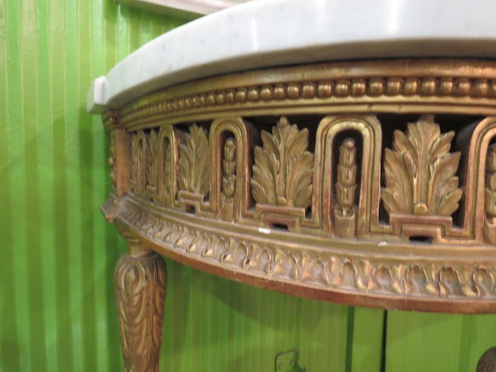 A French Gilt Wood Marble Top Console Table. - 4