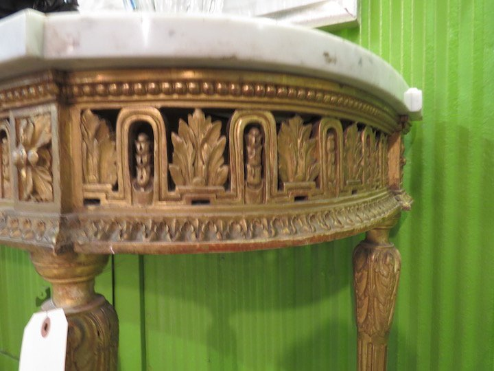 A French Gilt Wood Marble Top Console Table. - 6