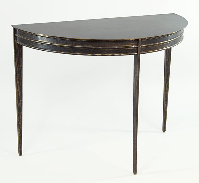 A Contemporary Iron Demilune Console Table.