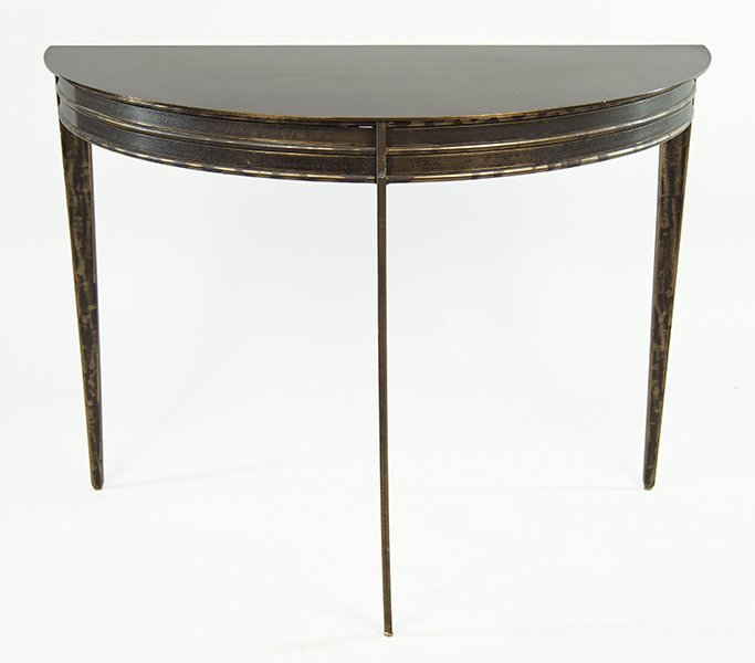 A Contemporary Iron Demilune Console Table. - 2