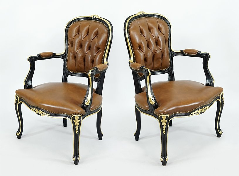 A Pair of Carved Wood Open Armchairs.