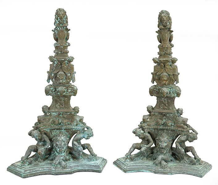 A Pair of Monumental Italian Baroque Style Bronze