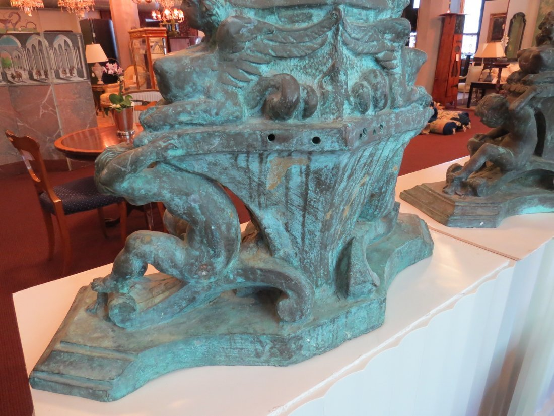 A Pair of Monumental Italian Baroque Style Bronze - 2