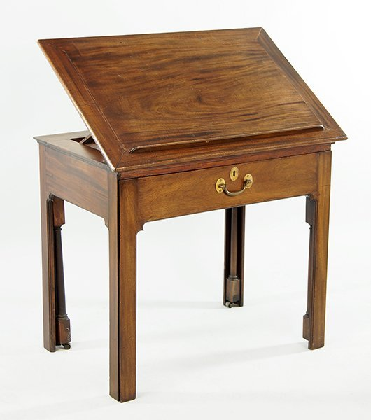 An English Mahogany Drafting Table.