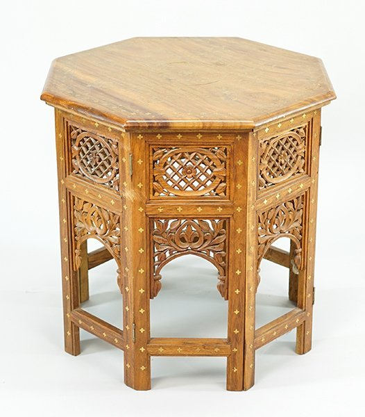 A Brass Inlaid Occasional Table.
