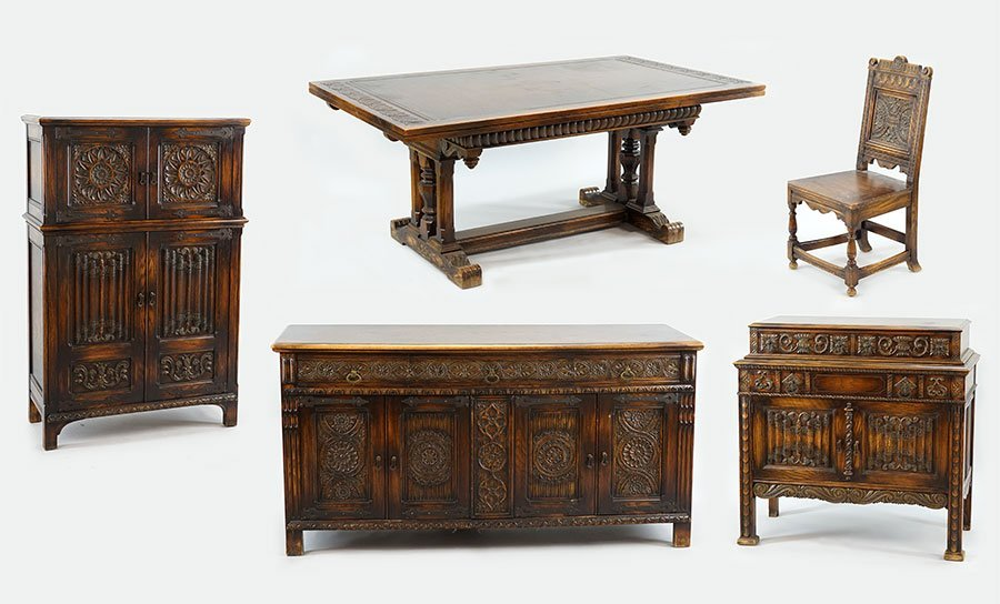 A Carved Oak Dining Suite.
