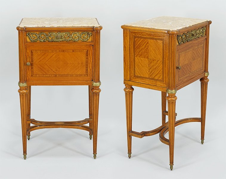 A Pair of French Walnut Side Tables.