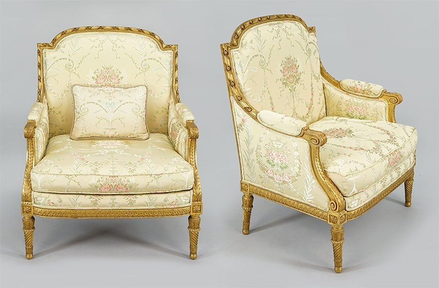 A Pair of Louis XVI Style Giltwood Bergeres.