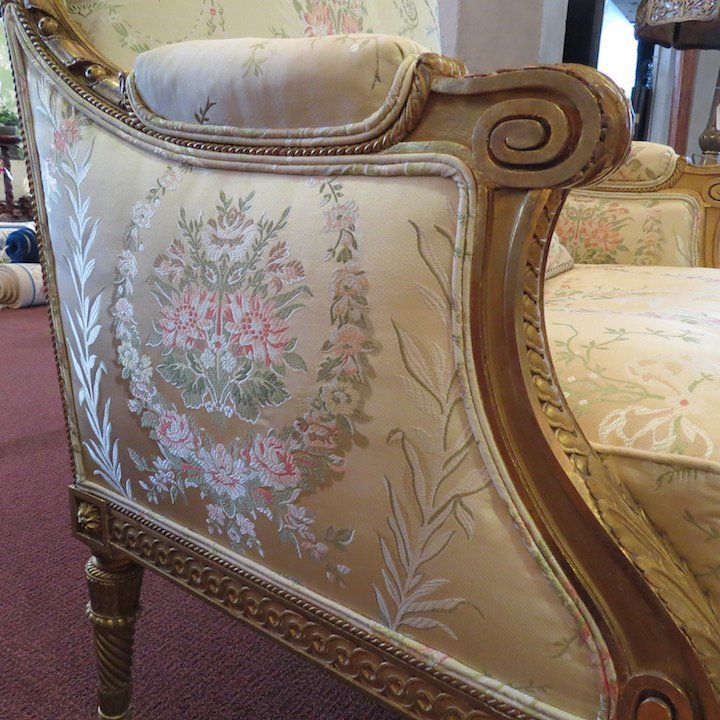 A Pair of Louis XVI Style Giltwood Bergeres. - 3