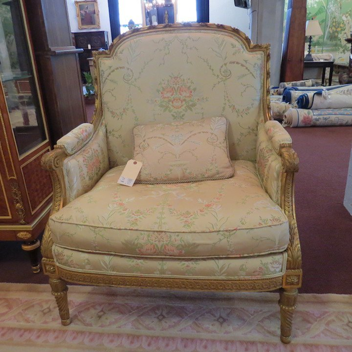 A Pair of Louis XVI Style Giltwood Bergeres. - 5