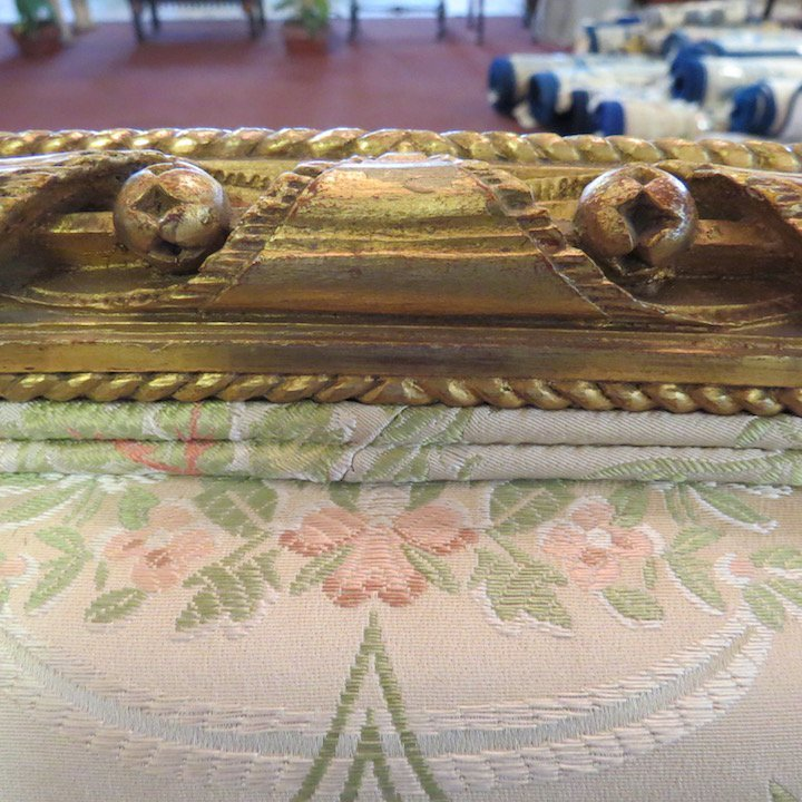 A Pair of Louis XVI Style Giltwood Bergeres. - 6