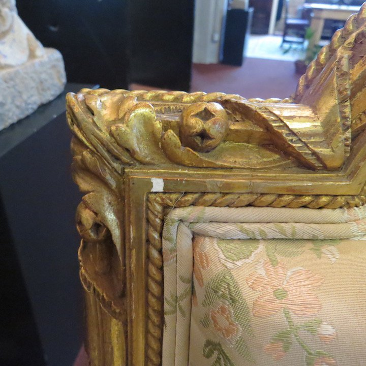 A Pair of Louis XVI Style Giltwood Bergeres. - 8