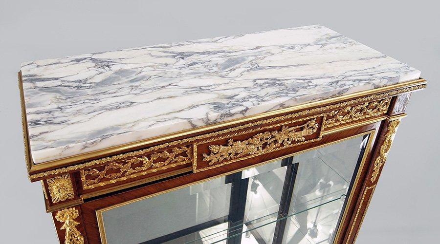 A Louis XVI Style Gilt Marble Top Vitrine. - 3