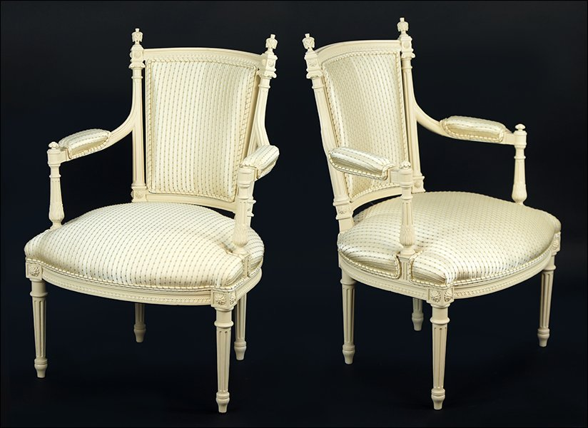 A Pair of French Silk Upholstered Open Armchairs.