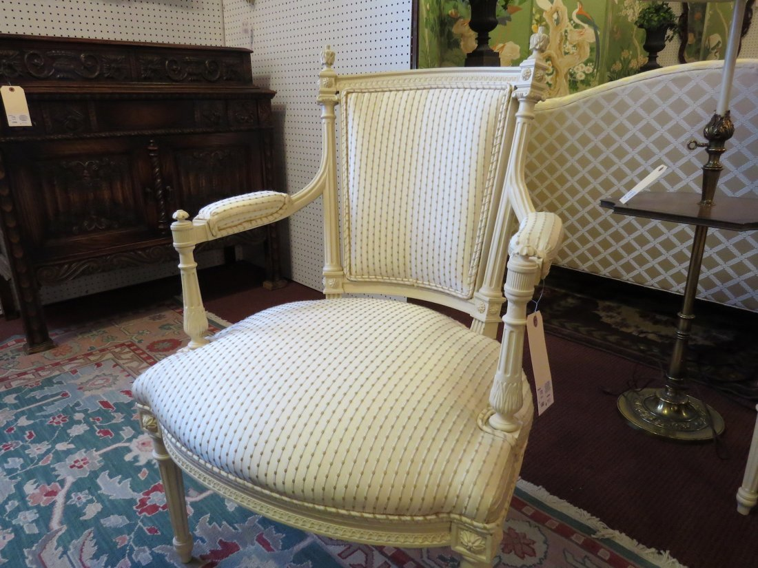 A Pair of French Silk Upholstered Open Armchairs. - 2