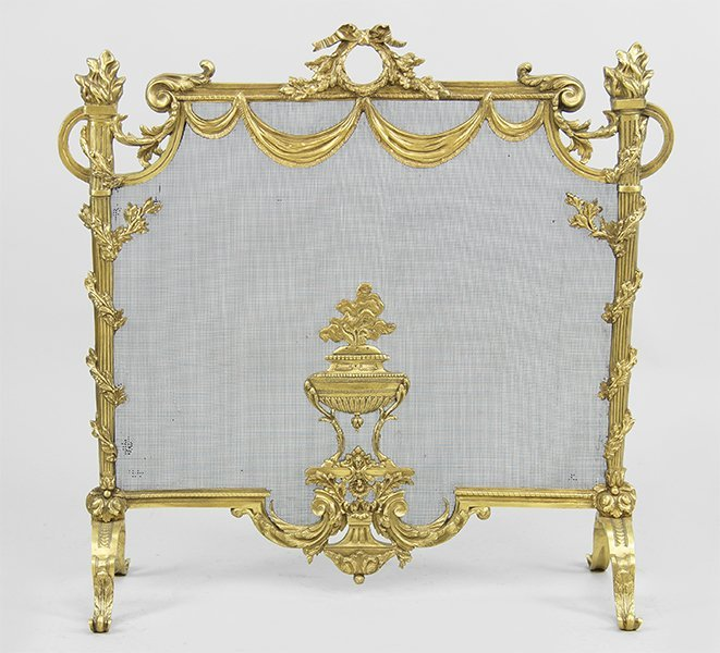 A Gilt Bronze Firescreen.