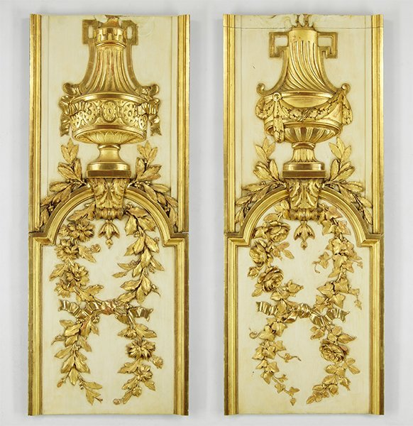 A Pair of Gilt and Gessoed Architectural Elements.