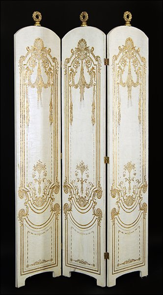 A French Gilt and Painted Wood Three-Panel Floor