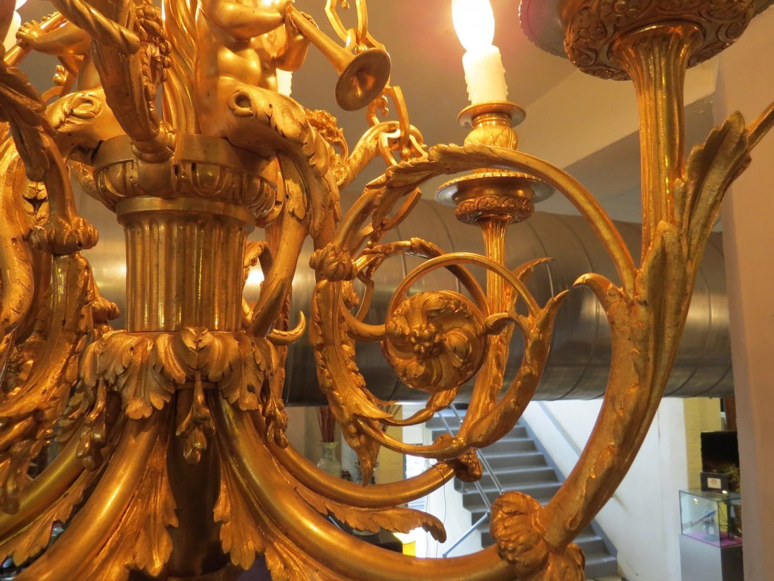 A French Gilt Metal Six-Light Chandelier. - 3