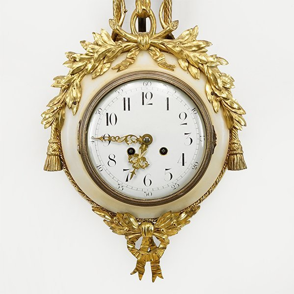 A French Gilt Metal and Marble Wall Clock. - 2