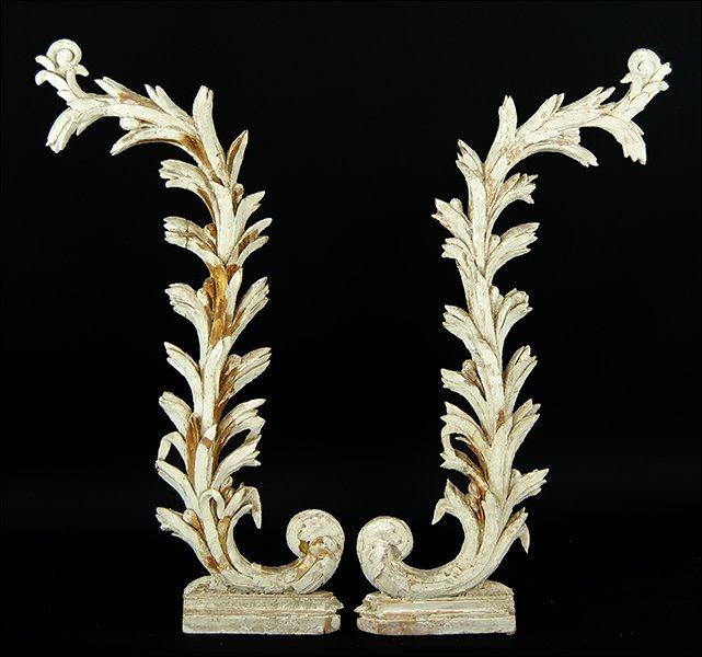 A Pair of Parcel Gilt Carved Wood Architectural