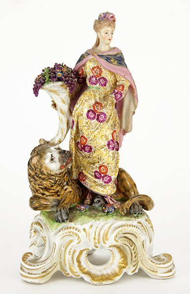 An 18th Century Bow Porcelain Figure of Ceres and the