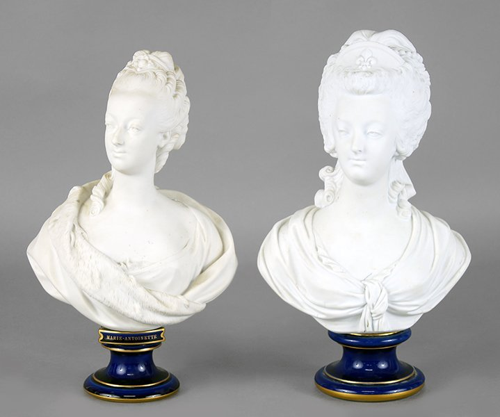 Two Sevres Bisque Porcelain Busts of Marie Antoinette.