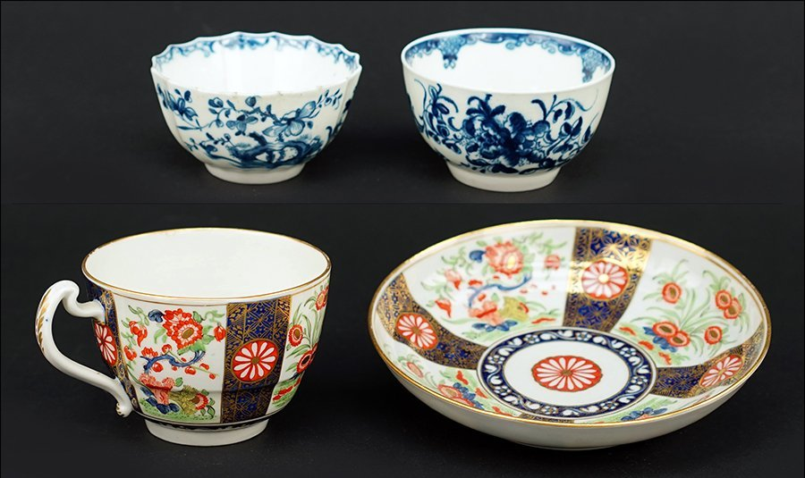 Two Worcester Porcelain Tea Bowls.