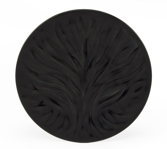 A Set of Thirteen Lalique Black Frosted Glass Plates.