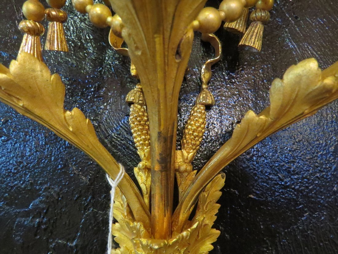 A Pair of French Gilt Metal Three-Light Wall Sconces. - 4