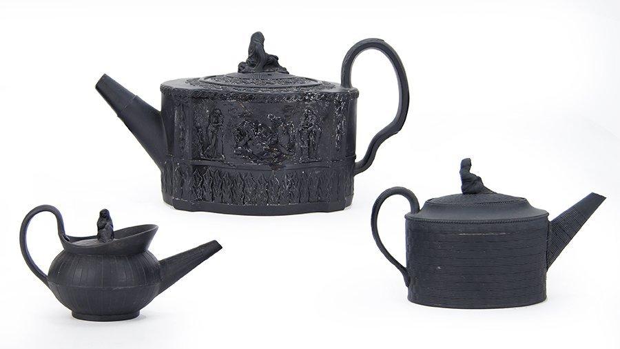 Three 19th Century Wedgwood Basaltware Teapots.