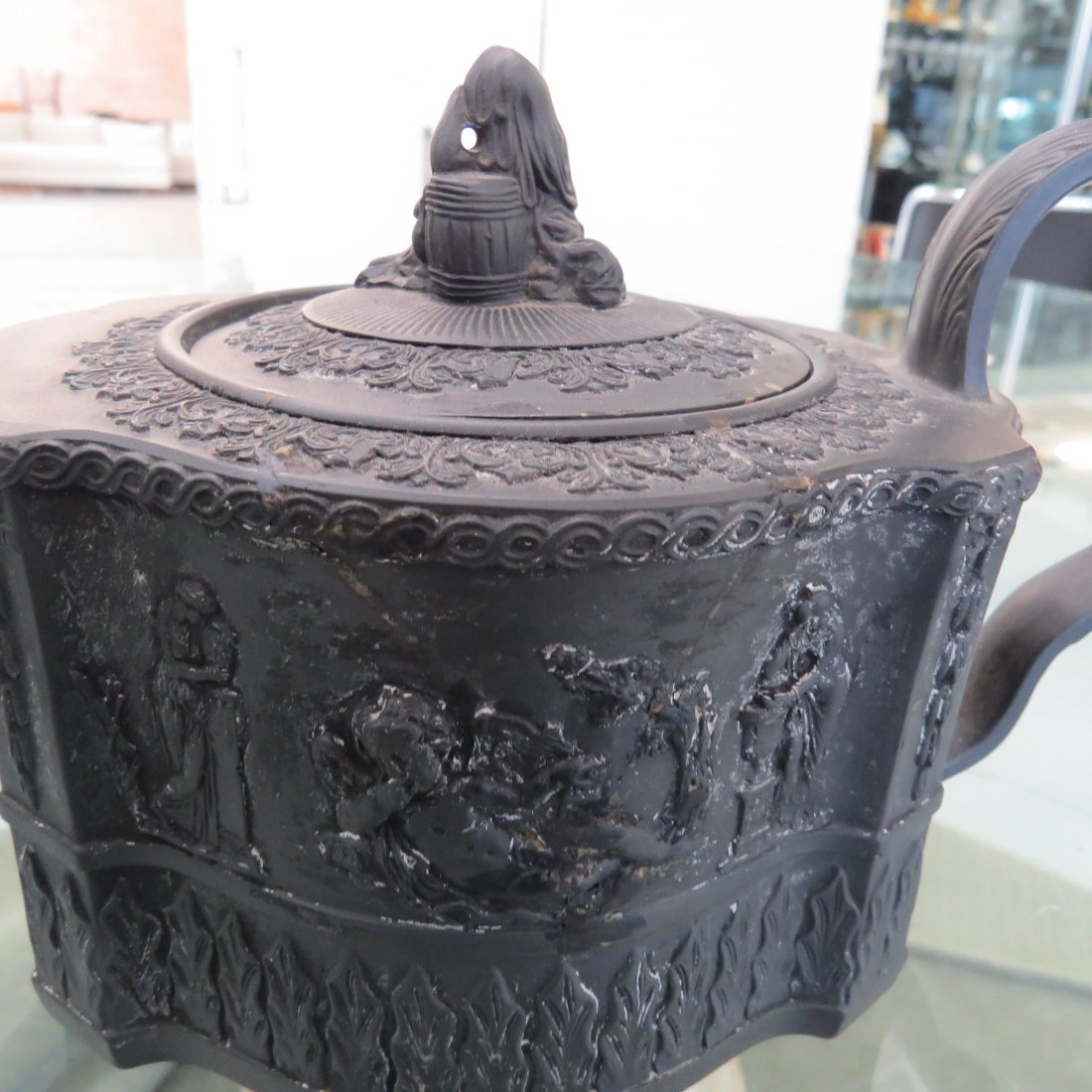 Three 19th Century Wedgwood Basaltware Teapots. - 2
