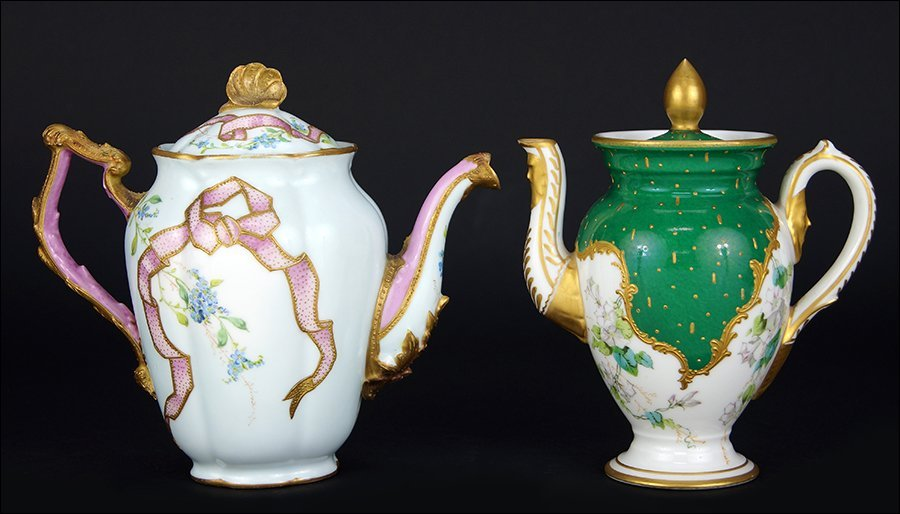 Two French Sevres Porcelain Teapots.