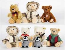 Group of Steiff Plush Bears.