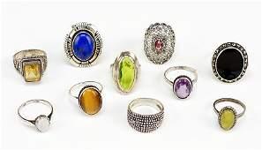 Ten Sterling Silver Rings.