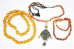 Two Amber Bead Necklaces