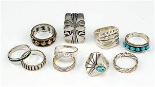 A Collection of Ten Sterling Silver Rings.